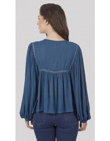 SbuyS - Embroidered Yoke Peasant Blouse