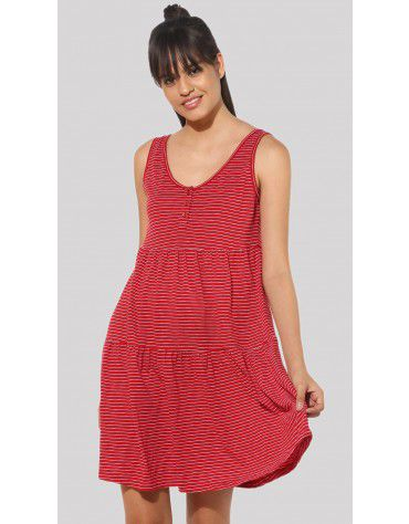 SbuyS  - Sleeveless Tiered Striper Midi Dress