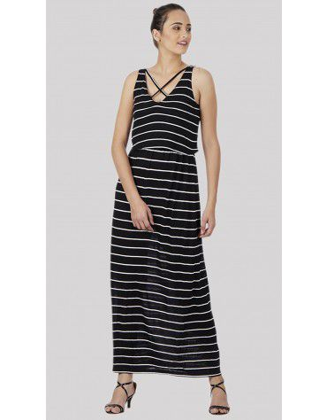 SbuyS - Criss Cross Stripe Maxi Dress