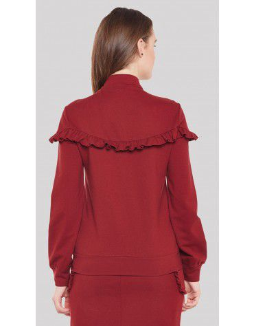 SbuyS  - Zip Up Ruffle Sweatshirt