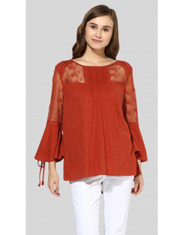 SbuyS  - Sheer Lace Peasant Top