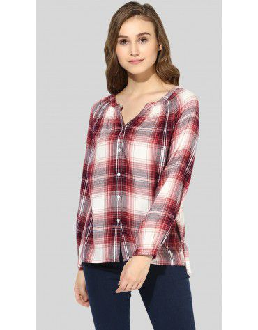 SbuyS  - Smocked Neck Button Down Shirt