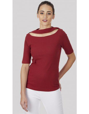 SbuyS  - Neck Cut Out Rib T-Shirt