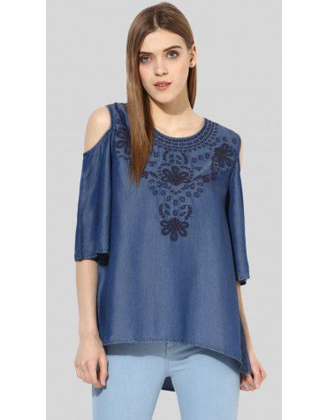 Sbuys - Embroidered Cold Shoulder Top