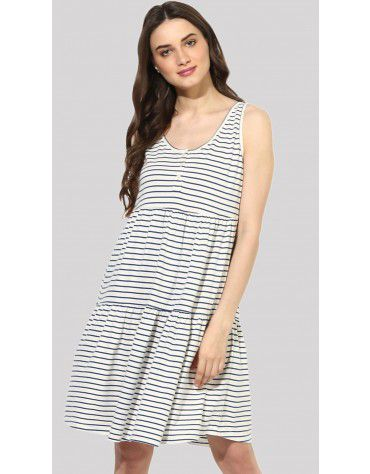 SbuyS  - Striper Sleeveless Tiered Midi Dress