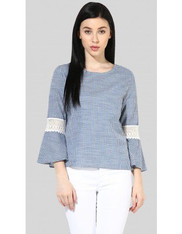 SbuyS - Lace Up Gingham Blouse
