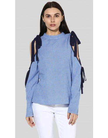 SbuyS - Gingham Cold Shoulder Top