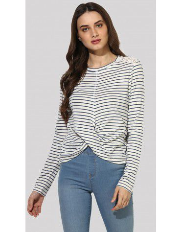 SbuyS  - Twisted Hem Striper Novelty T-Shirt