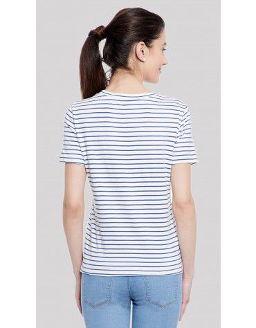 SbuyS  - Stripe Heart Printed T-Shirt