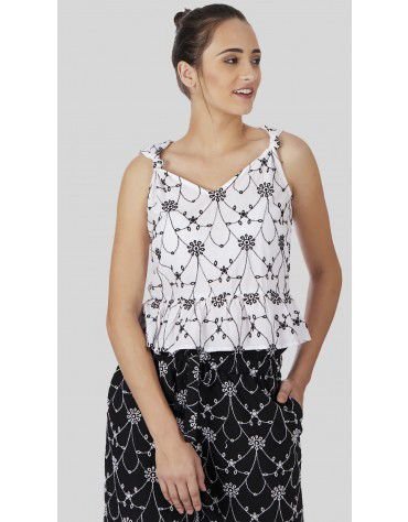 SbuyS - Embroidered Peplum Cami Top