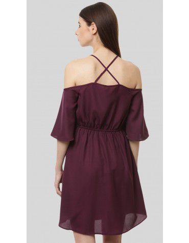 SbuyS - Halter Neck Cold Shoulder Dress
