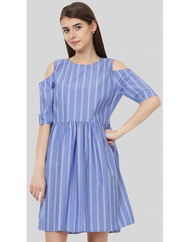 SbuyS - Cold Shoulder Striper Dress