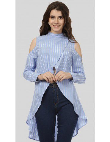 SbuyS - Cold Shoulder Stripe Tunic Top