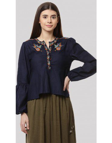 SbuyS - Embroidered Peplum Blouse