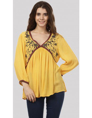 SbuyS - V Neck Embroidered Peasant Top