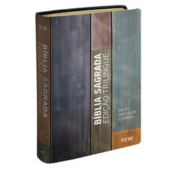 Biblia Sagrada Trilíngue Espanhol / Inglês / Português (Capa estampada)