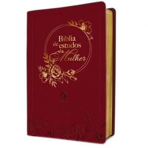 Bíblia De Estudos Da Mulher - Capa Em Couro Bordô