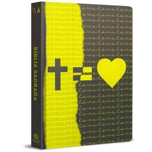 Bíblia NAA - Cruz = Amor (Amarela e preta)