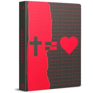 Bíblia NAA - Cruz = Amor (Vermelha e preta)