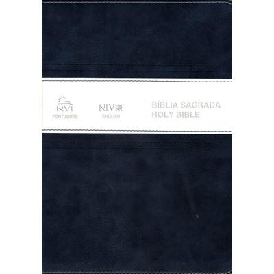 Bíblia NVI português-inglês - Azul e Branco