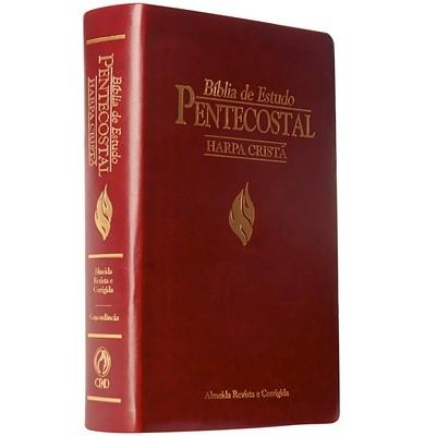 Bíblia de Estudo Pentecostal com Harpa Cristã (Média / Luxo Vinho)