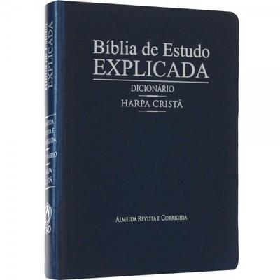 Bíblia de Estudo Explicada Grande com Harpa e Dicionário (Azul)
