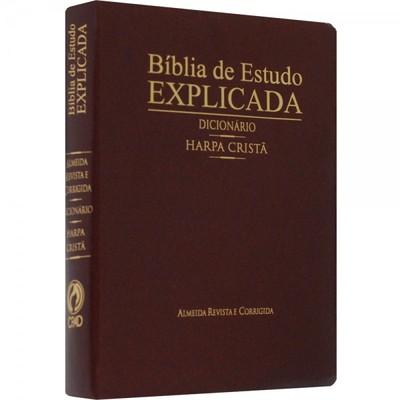 Bíblia de Estudo Explicada Grande com Harpa e Dicionário (Vinho)