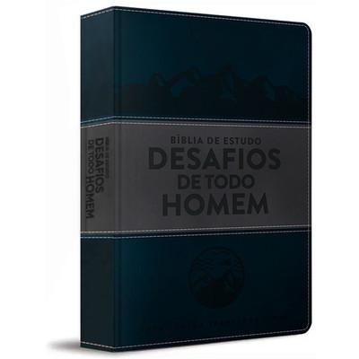 Bíblia de Estudo Desafios de Todo Homem - NVT (Azul)