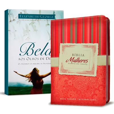 Combo - Bíblia Mulheres Diante do Trono + Livro Bela Aos Olhos de Deus