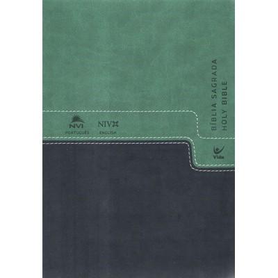 Bíblia NVI Português-Inglês - Verde e Azul