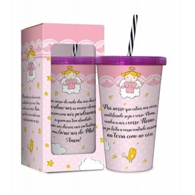 Copo Plástico Com Canudo - Pai Nosso (Rosa)