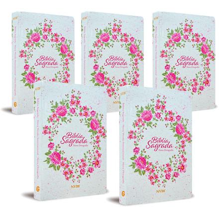 Combo 5 Bíblias - NVI Grande (Semi-luxo Rosa Floral)