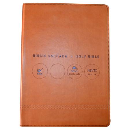 Bíblia NVI Português-Inglês - Marrom