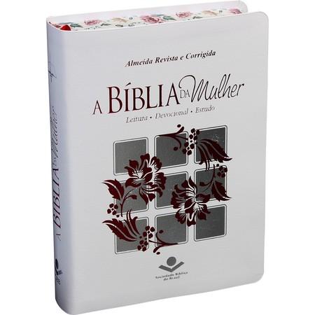 A Bíblia da  Mulher (Branca com Borda Florida)