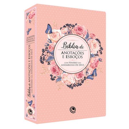 Bíblia de Anotações e Esboços com Hinário (Luxo Rosa)