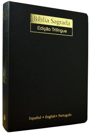Bíblia Trilíngue - Letra Gigante (Luxo Preta)