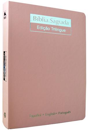 Bíblia Trilíngue - Letra Gigante (Luxo Rosa)