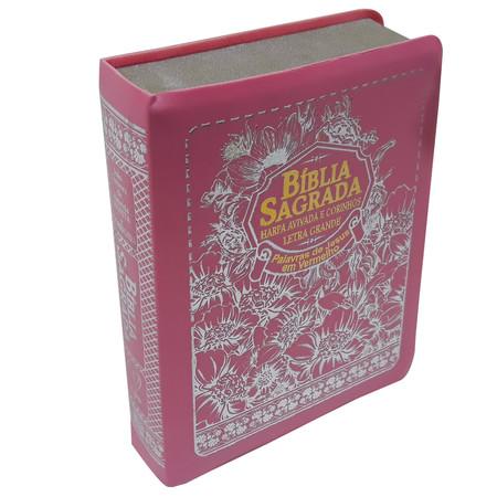 Bíblia Sagrada com Letra Grande e Harpa Avivada - ARC (Rosa)