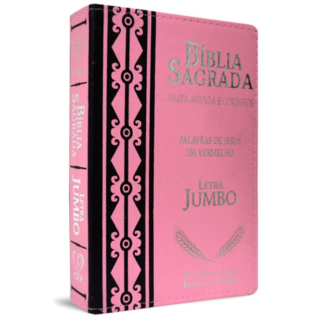 Bíblia Sagrada com Letra Jumbo e Harpa Avivada - ARC (Luxo Rosa)