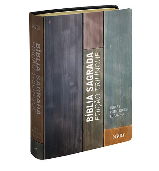 Bíblia Sagrada Trilíngue Espanhol / Inglês / Português (Capa estampada)