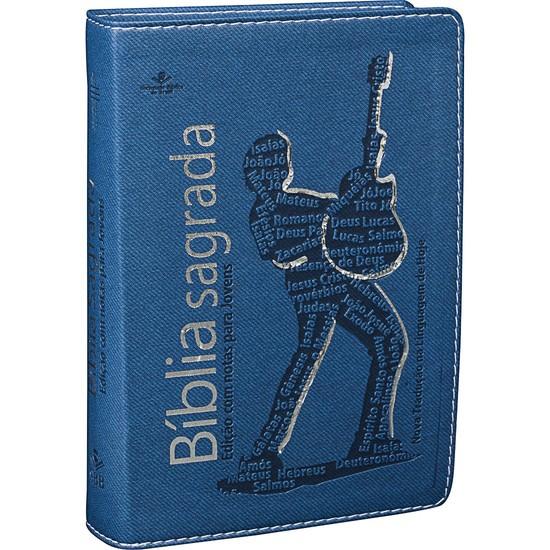 Bíblia com Notas para Jovens (Azul com prata)