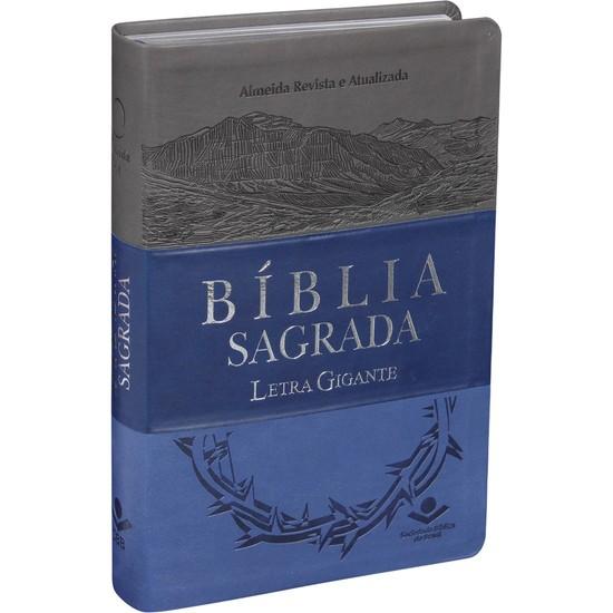Bíblia Sagrada Letra Gigante - RA (Azul e Cinza)