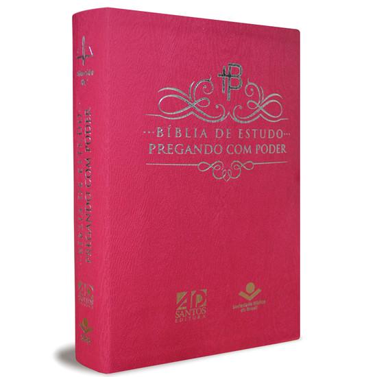 Bíblia de Estudo Pregando com Poder (Luxo Rosa)