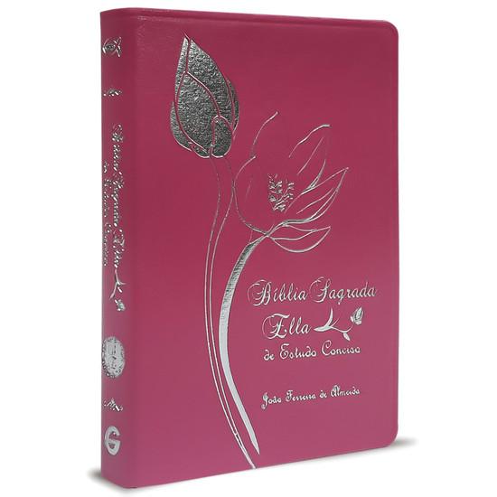 Bíblia Sagrada Ella de Estudo Conciso - Capa Luxo  Pink