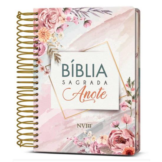 Bíblia NVI - Com Espaço Para Anotações Espiral - Flores Aquarela