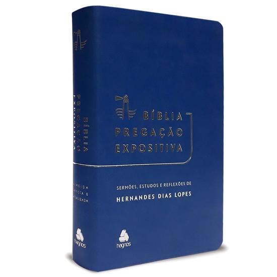 Bíblia Pregação Expositiva - Luxo Azul