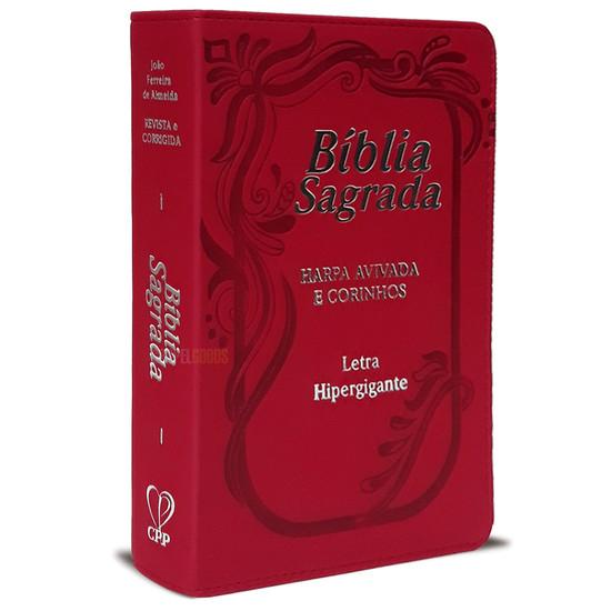 Bíblia com Letra Hiper Gigante c/ Índice e Harpa - ARC (Luxo Vermelha)