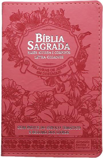 Bíblia Com Harpa Avivada - Letra Gigante Capa PU Luxo ARC - Rosa