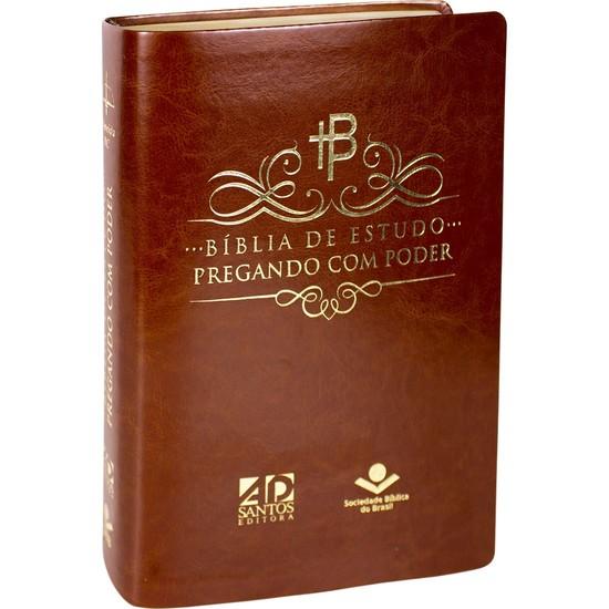 Bíblia de Estudo Pregando com Poder - Luxo Marrom
