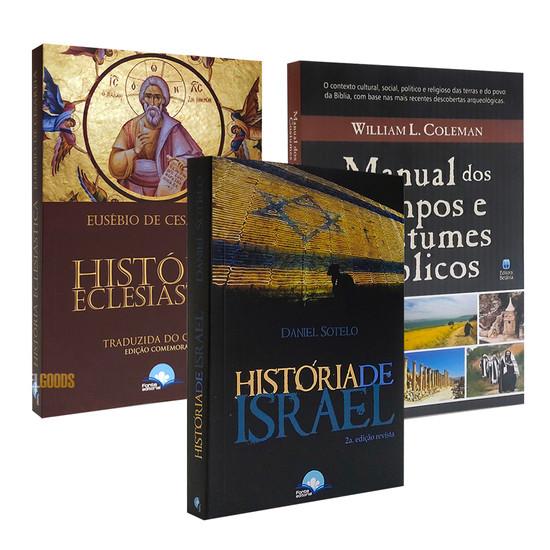Combo 3 Livros - História de Israel, Eclesiástica e Manual de Costumes